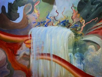 Bacon Waterfall, 30x40 inches, acrylic on canvas, 2013