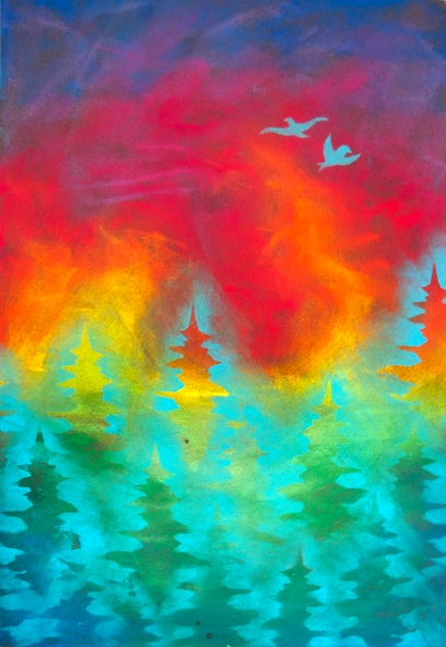 Forest Fire, 19x12.5 inches, soft pastel, 2015