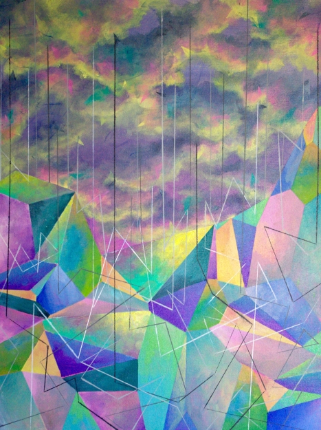 Geometric Rain, 18×24 inches, acrylic on canvas, 2015