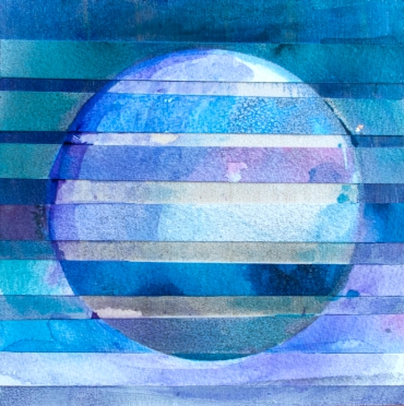 Glitched Eclipse 3, 6x6 inches, mixed media on panel, 2016