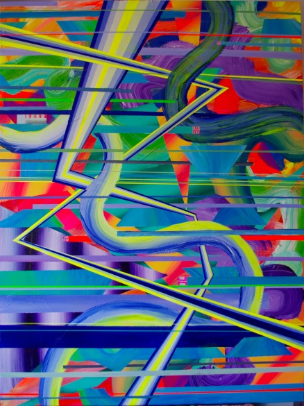Glitched Zips, 30×40 acrylic on canvas, 2015