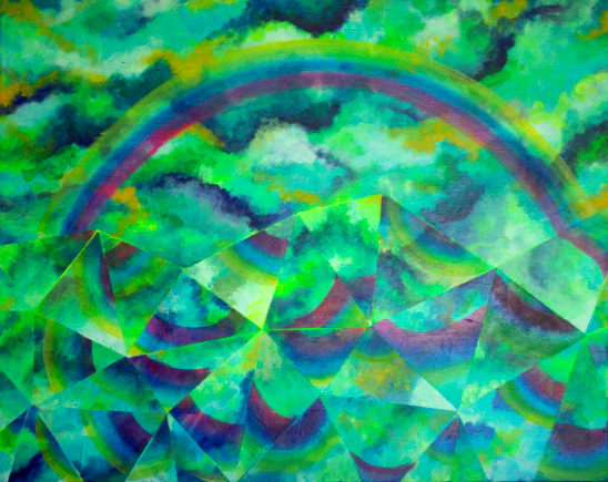Mirrored Mountain, 18×24 inches, acrylic on canvas 2016