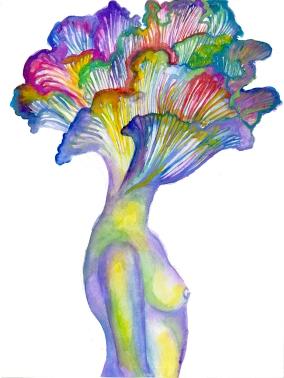 Mushroom Queen, 9x12 inches watercolour 2016