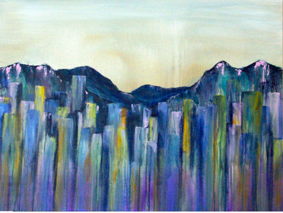 Raincity, 30x40 inches, acrylic on canvas, 2015