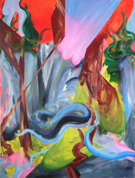 Seal Bay on Fire, 30×40 inches, acrylic on canvas, 2013