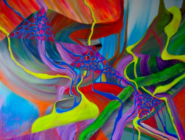 Streaming, 36x48 inches, acrylic on canvas, 2016