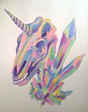 Unicorn Skull, 9x12 inches, watercolour on paper, 2015