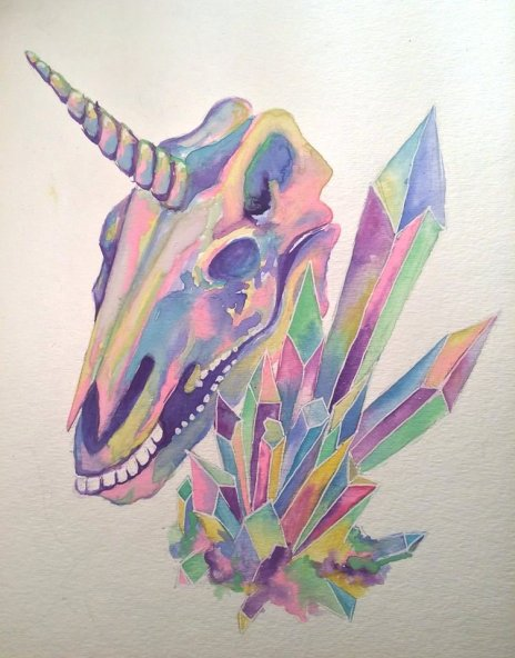 Unicorn Skull, 9x12 inches, watercolour on paper, 2015