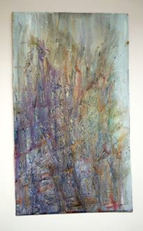 untitled, 18x30 inches, mixed media on doorskin, 2011